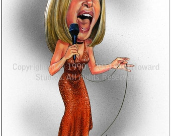 Don Howard's Depiction of Barbra Streisand Limited Edition Celebrity Caricature