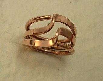 Three Turn Wave Energy Ring™ © in Pure Copper or Brass