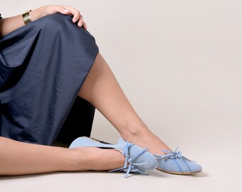Blue jeans soft ballet flats leather handmade