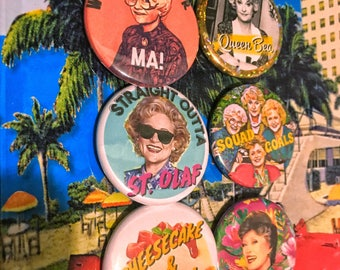 """Golden Girls Pin Back Button Pack, Squad Goals, 1.5"""" pinback buttons, Gift for her, Mothers Day gift, Bridesmaid gift, Bachelorette party"""