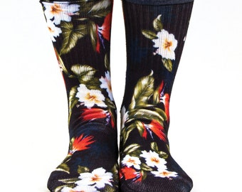 Samson® Hawaiian Black Red Sublimation Hand Printed Socks Hawaii Island Tropical Quality Print UK