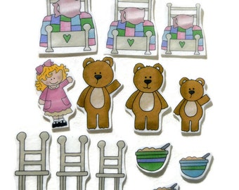 Goldilocks and the Three Bears , Fingerplay, Nursery Rhyme, Felt Board, Flannel Board, Quiet Book, Felt set, Homeschool, Felt Story