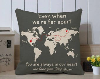 World Map Pillow Cover, Personalized Cushion Case, Long Distance Pillow Case, Long Distance Relationship, Valentines Gift for Boyfriend, 18""