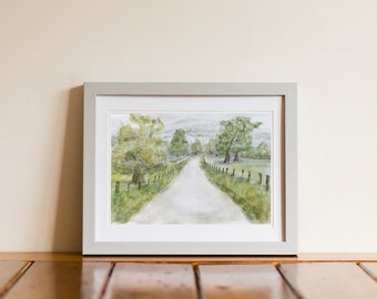 Curraghmore Ireland Country Lane Watercolor Landscape Giclee Print - Portlaw, Ireland