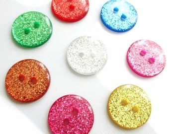 LOT 8 GLITTER GLITTER buttons DOUBLE-sided SCRAPBOOKING sewing card 15mm