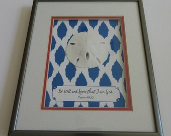 Be Still and Know Double Matted Shadowbox Frame with Sand Dollar - WORD Art, Wall Art, Christian Decor