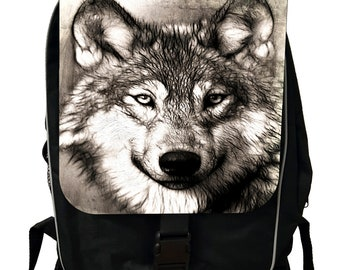 Grey Wolf Up-Close - Black School Backpack