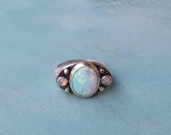 Unique opal engagement ring,alternative opal engagement ring,925 sterling silver opal ring,white opal silver engagement ring