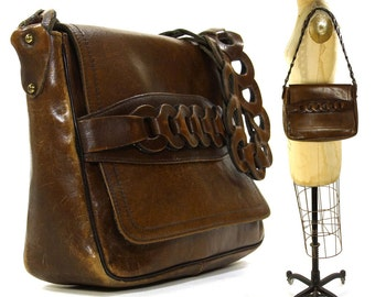 70s Boho Leather Purse Vintage 1970s Bohemian Leather Hippie Shoulder Bag Brown Distressed Hobo with Flap Closure