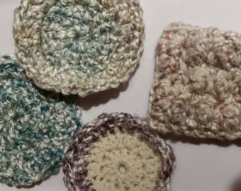 Face scrubbies -Set of 3 Facial rounds 1 nubby scrubby. Makeup removal pads. Reusable cotton mini wash cloths