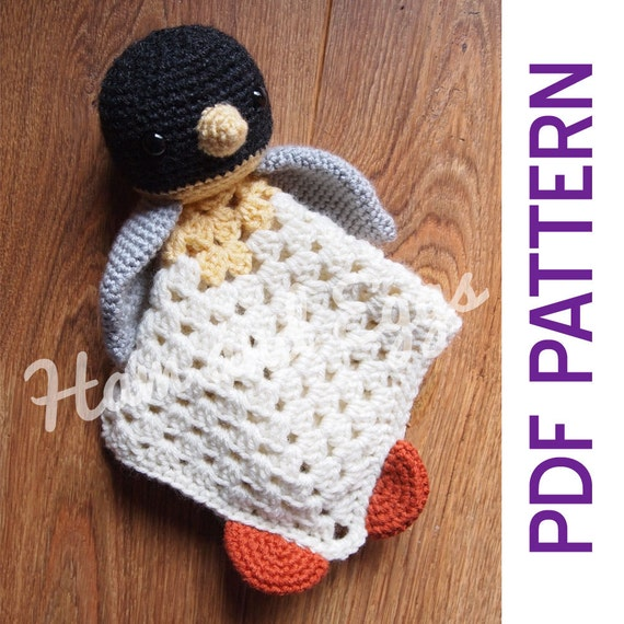 Patrón de Crochet de amigurumi pingüino manta de seguridad