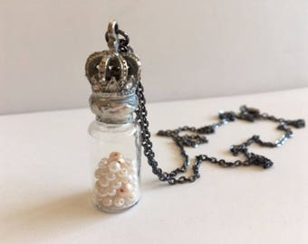 Bottle Necklace With Crown & Pearls