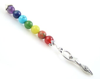 Seven Chakras rainbow gemstone pendant - Spiral Goddess - Gemstones: carnelian, unakite, jade, aventurine, turquoise, lapis lazuli, amethyst