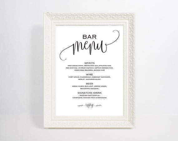Bar Menu Template Bar Menu Bar Menu Printable Bar Menu