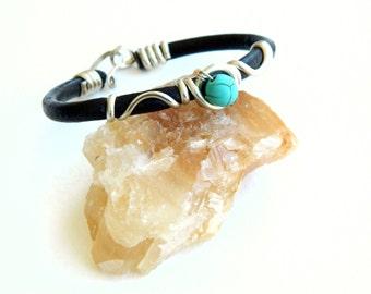 turquoise bracelet, leather bracelet with turquoise. turquoise, brown leather