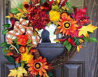 Etsy Fall Wreath   Thanksgiving Wreath   Grapevine Wreath   Fall Decorations   Door Wreaths   Wreaths on Etsy   Etsy Wreaths