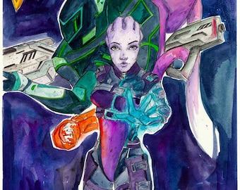 ORIGINAL Watercolour fan art of Blasto 7 goes to Andromeda