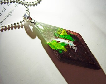 Wood pendant Waterfall. Womens wooden pendant on silver chain. Wood and resin pendant.