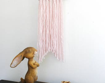 Wall Hanging - Baby Pink Wool Girls Room Nursery Wall Hanging Pink