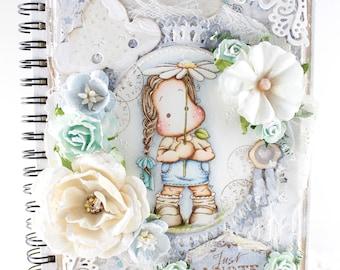 OOAK Handmade Magnolia Notebook - lined, wire binding/hardcover
