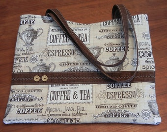 Coffee-themed Quilted Cotton Tote Bag