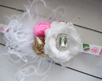 Hand Crafted Christmas Present Headband - Christmas Gift Bow - Pink and Green Christmas Headband - White Feather Headband - Baby Girl Bows
