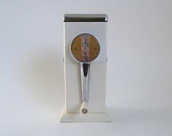 Mid Century 1950's ICE-O-MAT Chrome Enamel & Plastic White Hand Crank Ice Crusher