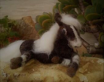 CASPER - lovely needle felted lying pony.