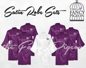 PLUM SATIN ROBES - Bridal Party Robes - Personalized Robes - Bridesmaids Robes - Bridesmaid Gifts - Bride Robe - Kimono Robe - Spa Robes