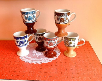Set of 6 vintage Japan footed coffee mugs