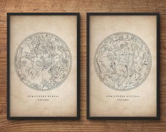 Constellation Print Set, Astronomy Print, Star Chart Print, Constellations Chart, Constellation Print, Nautical Decor, Bedroom Wall Art