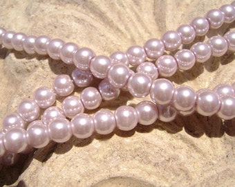 Pearlescent Glass Pearl Pearls Beads Lavender 8mm Round LARGE 30mm Strand