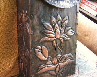 Larger Waterlily Copper Tooled Mailbox