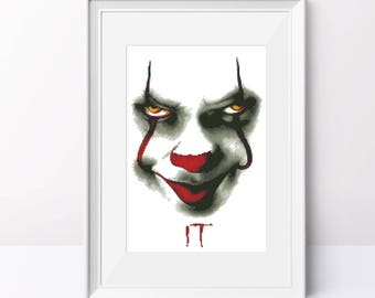Pennywise cross stitch pattern Movie IT pdf pattern Clown cross stitch pattern Counted cross stitch pdf