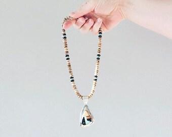 Vintage Jay King Desert Rose Southwestern Mosaic Jasper and Onyx Gemstone Beaded Necklace
