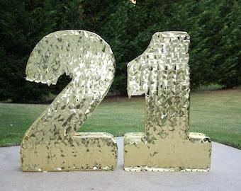 Large Number Pinatas. Number 21. Gold Number Pinatas. Custom Pinata. Any Number Pinata. 21 birthday.  Sweet 16. Quinceanera