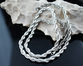 Vintage Art Deco necklace chain silver tone rope design twisted circa  Modernist   q133