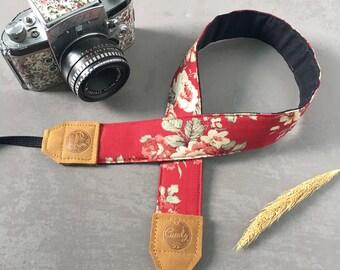 DSLR camera strap,Red flower Camera Strap, leather camera Strap Gift for her