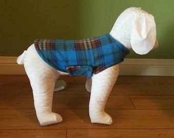 Extra Small Dog Coat, Blue, Aqua, Rust, Tan, & Lavender Plaid Fleece with Charcoal Gray Fleece Lining