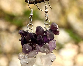 amethyst Jewelry amethyst earring Cluster earrings  birthstone Jewelry birthstone earring women earrings February birthstone stone Jewelry