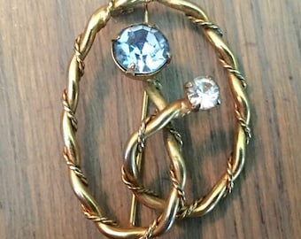 Vintage blue topaz clear rhinestone 1950s brooch pin gold toned vintage jewelry
