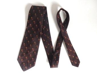 Vintage Silk & Polyester Men's Brown Skiing Skier Themed Necktie from Malliard's