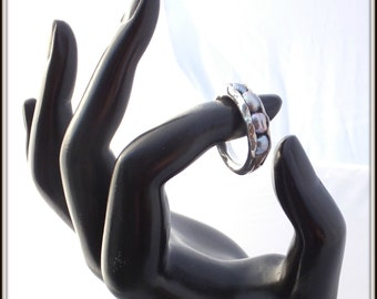 OOAK anticlastic ring sterling silver grey irridescent pearls metalsmith
