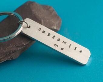 SMALL, customised Keyring, Custom Keyring,Personalised Keyring, Hand Stamped Keyring, Custom Keychain, Personalized Keychain, Keyring Gift