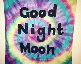 Tie dye good night custom tapestry