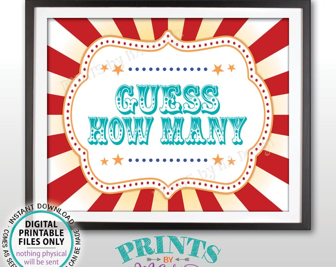 """Guess How Many Sign, Guess the Number Carnival Theme Party Guessing Carnival Games, Circus Themed PRINTABLE 8x10/16x20"""" Carnival Sign <ID>"""