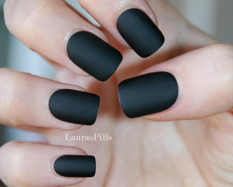 Matte Black square shaped false nails! from LaurasPills on Etsy Studio