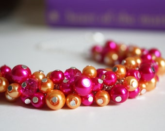 Hot Pink and Orange Necklace Fuchsia and Orange Pearl Necklace Hot Pink Orange Crystal Necklace Bridesmaid Hot Pink and Orange Necklace