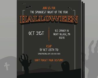 Custom Printable Halloween Party Invitation using your info