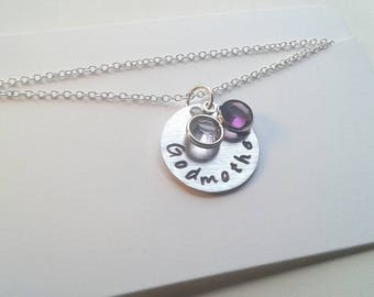 Hand Stamped Godmother Necklace With Birthstones On Sterling Silver Chain - Baptism Gift - Birthday - Auntie Christening - Goddaughter Gift